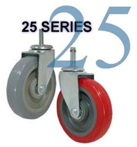 SERIES 25 Swivel 3 1/2 inch Soft Rubber 200 Lb LIGHT / MEDIUM DUTY CASTERS
