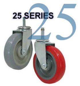 SERIES 25 Swivel 3 inch Soft Rubber 200 Lb LIGHT / MEDIUM DUTY CASTERS