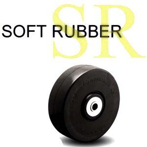 5 Inch 350 Lb Plain Bore SOFT RUBBER WHEEL