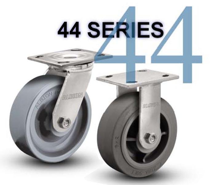 SERIES 44 RIGID 8 inch Rubber, Iron 600 Lb MEDIUM / HEAVY DUTY CASTERS