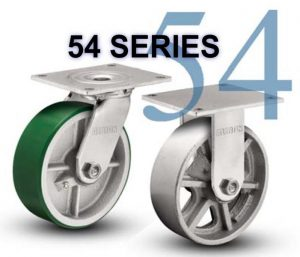 SERIES 54 RIGID 8 inch Rubber, Iron 600 Lb MEDIUM / HEAVY DUTY CASTERS