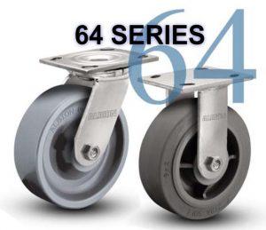 SERIES 64 Swivel 8 inch Poly-u, V-Groove 300 Lb MEDIUM / HEAVY DUTY CASTERS