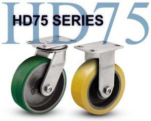 SERIES HD75 RIGID 8 inch Rubber on Iron 850 Lb HEAVY DUTY CASTERS