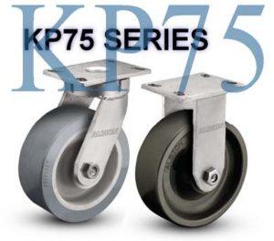 SERIES KP75 RIGID 12 inch Rubber on Iron 1200 Lb HEAVY DUTY KINKGPINLESS CASTERS