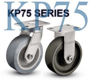 SERIES KP75 RIGID 12 inch Poly-u on Iron 2500 Lb HEAVY DUTY KINKGPINLESS CASTERS