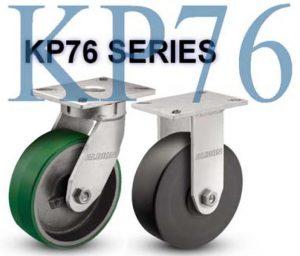 SERIES KP76 RIGID 12 inch Rubber on Iron 1200 Lb HEAVY DUTY KINKGPINLESS CASTERS