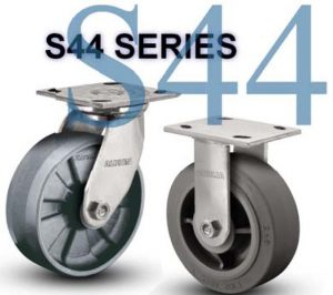 SERIES S44 RIGID 4 inch Poly-u, V-Groove 300 Lb MEDIUM AND HEAVY DUTY STAINLESS STEEL CASTERS
