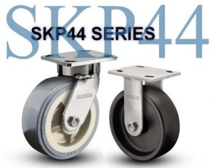 SERIES SKP44 Swivel 8 inch Poly-u, V-Groove 300 Lb STAINLESS STEEL KINGPINLESS CASTERS
